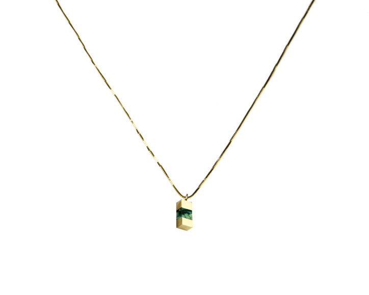 Young in the Mountains | Peacock Turquoise + 14k Gold Keel Beam Necklace | Firecracker
