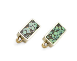 Young in the Mountains | Peacock Turquoise + Diamond Geo Rectangle Studs | Firecracker