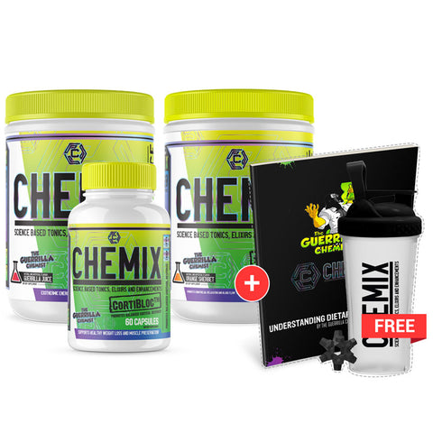 CHEMIX PRE WORKOUT + KING OF PUMPS + CORTIBLOC (STACK W/ FREE LIMITED EDITION SHAKER CUP AND E BOOK)