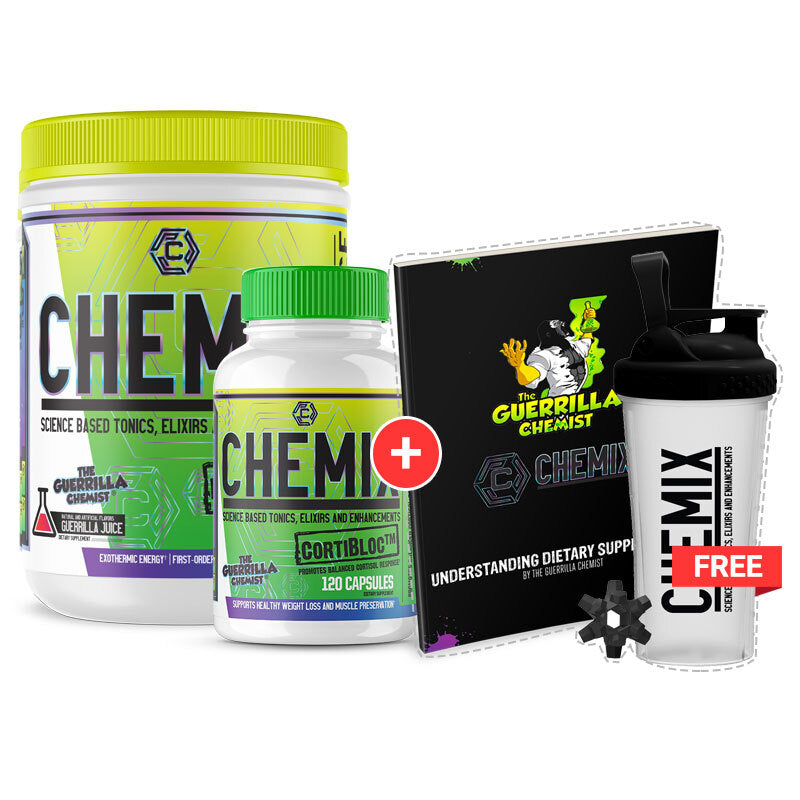 CHEMIX PRE WORKOUT + CORTIBLOC (STACK W/ FREE LIMITED EDITION SHAKER CUP AND E BOOK)