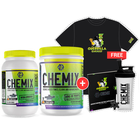 Image of CHEMIX KING OF PUMPS + CHEMIX INTRA WORKOUT STACK (W/ FREE LIMITED EDITION SHAKER CUP, T-SHIRT, AND E BOOK)