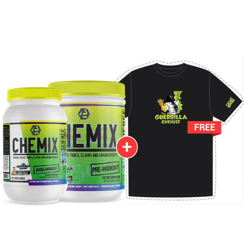 Image of CHEMIX PRE WORKOUT (40 SERVINGS) + CHEMIX INTRA WORKOUT W/ FREE T-SHIRT (STACK)