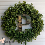 Boxwood Wreath with Letters