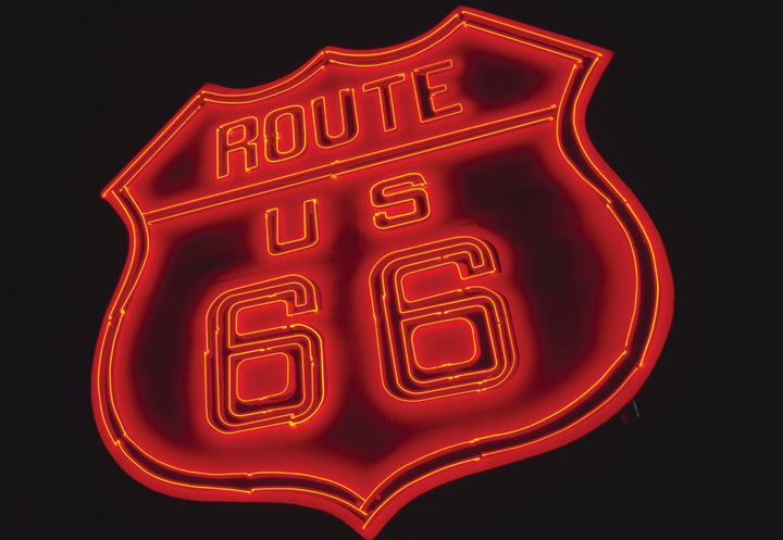 Route US 66 Neon Sign  in Elk City, OK I Terrence Moore