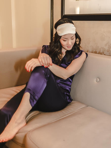 katie lam with silk sleep mask