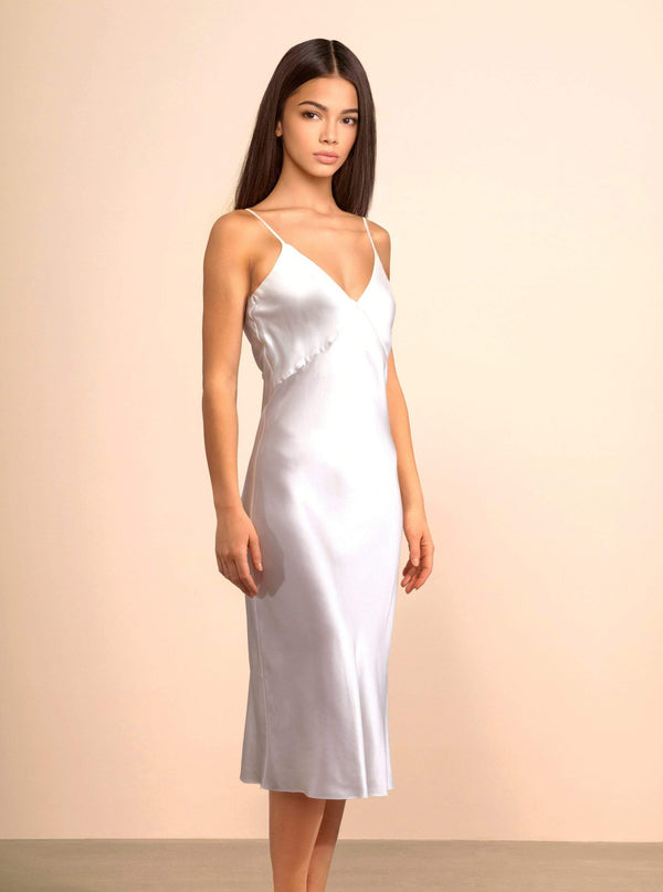 Aphrodite White Silk Slip Dress · Light Champagne