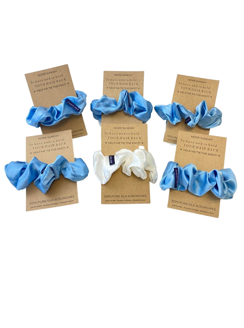 French Blue#Silk Scrunchie Hair Accessory Look Polished Anytime | More Sunday French Blue Bridal Proposal Silk Scrunchie Sets lunya morgan lane