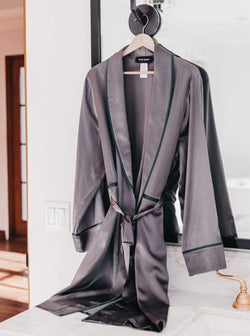 Unisex Silk Midi Smoking Robe- Extended Sizing -Charcoal | MORE SUNDAY L/XL Unisex Silk Midi Smoking Robe · Charcoal Grey · Extended Sizing lunya morgan lane