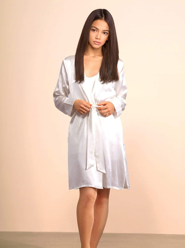 M Aphrodite White Silk Robe with Chiffon Piping · Light Champagne lunya morgan lane