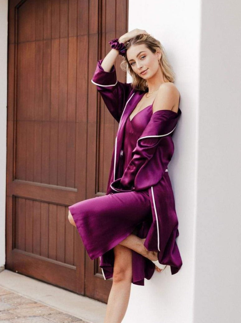 Mulberry Muse#Silk Midi Smoking Robe- Look Good at Home | MORE SUNDAY Silk Midi Smoking Robe lunya morgan lane