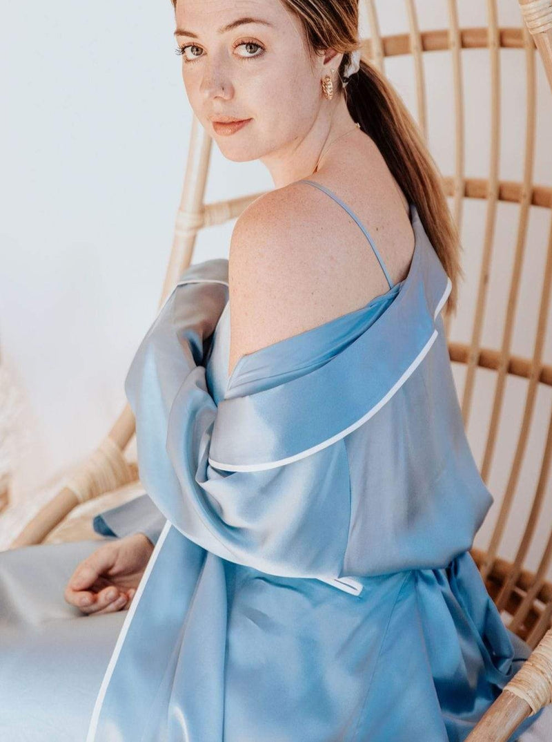 French Blue#Silk Midi Smoking Robe- Look Good at Home | MORE SUNDAY Silk Midi Smoking Robe lunya morgan lane