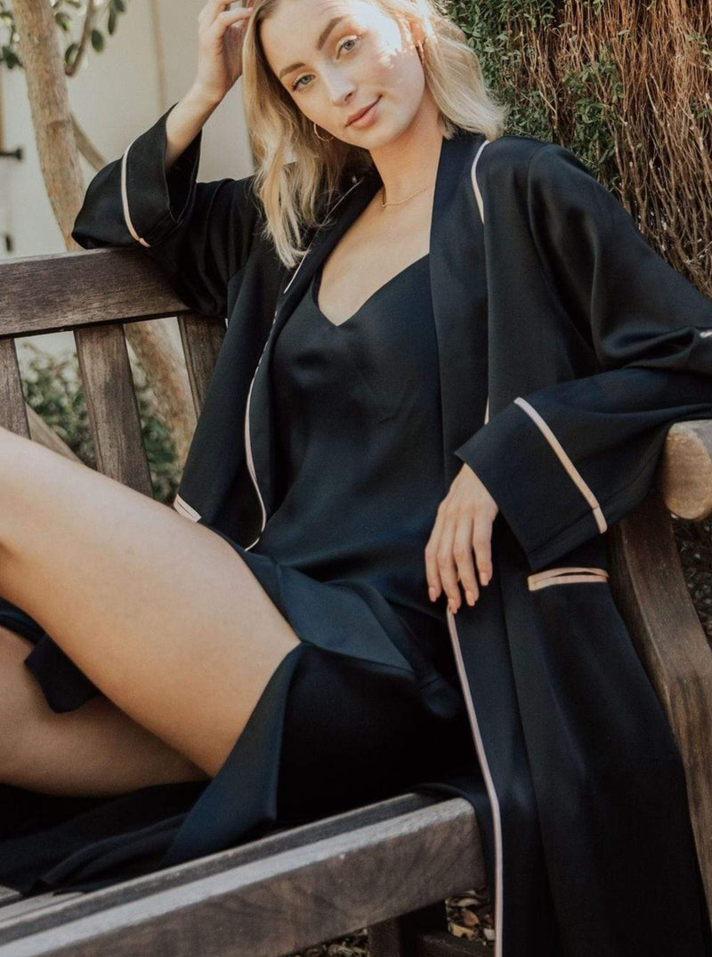 Black Caviar#Silk Midi Smoking Robe- Look Good at Home | MORE SUNDAY Silk Midi Smoking Robe lunya morgan lane