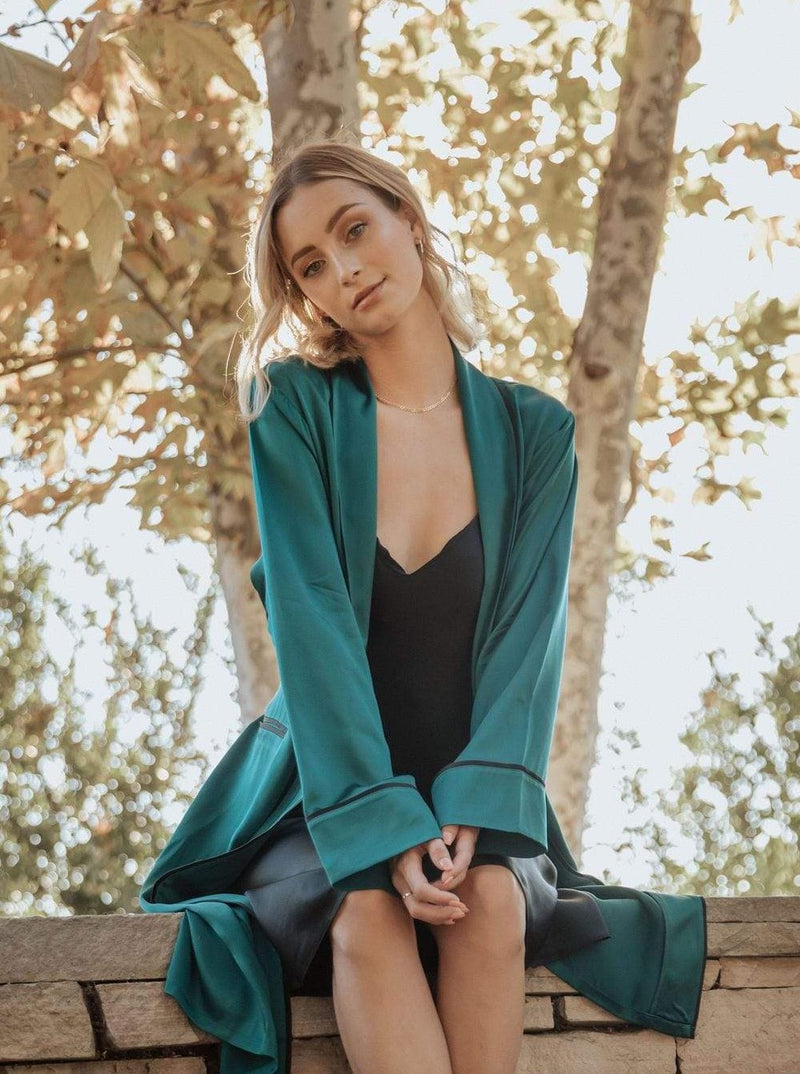 Deep Emerald Green#Silk Midi Smoking Robe- Look Good at Home | MORE SUNDAY Silk Midi Smoking Robe lunya morgan lane