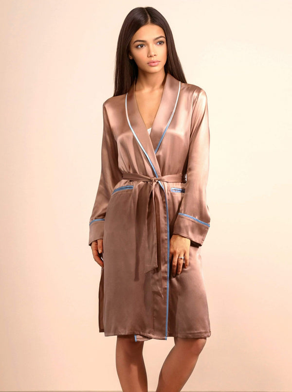Sunset Rose#Silk Midi Smoking Robe- Look Good at Home | MORE SUNDAY Unisex Silk Midi Smoking Robe lunya morgan lane