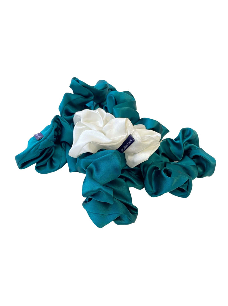 Deep Emerald Green#Silk Scrunchie Hair Accessory Look Polished Anytime | More Sunday Bridal Proposal Silk Scrunchie Sets lunya morgan lane