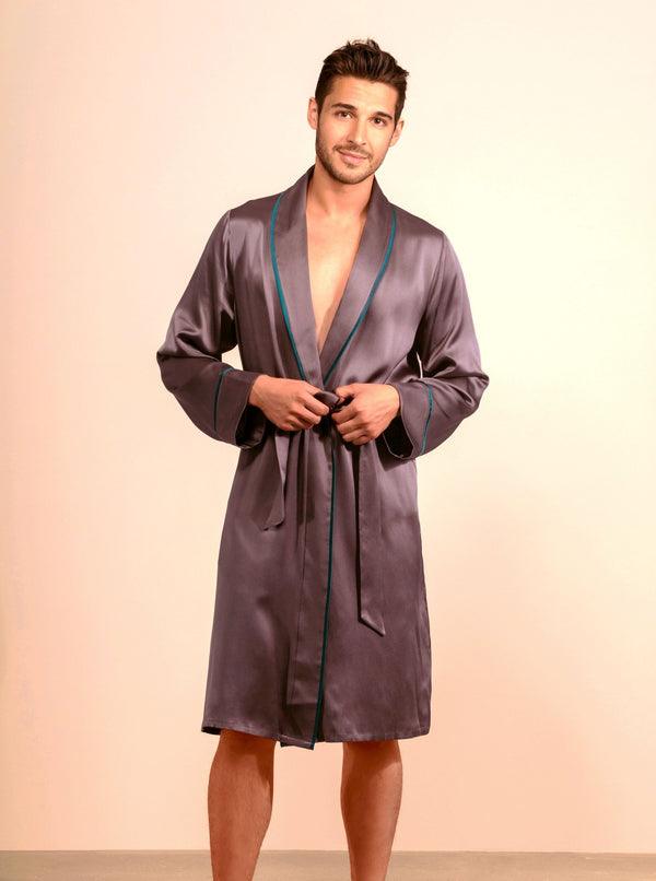Unisex Silk Midi Smoking Robe- Extended Sizing -Charcoal | MORE SUNDAY Unisex Silk Midi Smoking Robe · Charcoal Grey · Extended Sizing lunya morgan lane