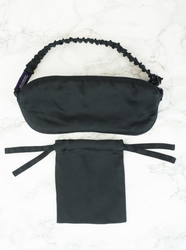 black real silk sleep mask with adjustable strap and carrying bag