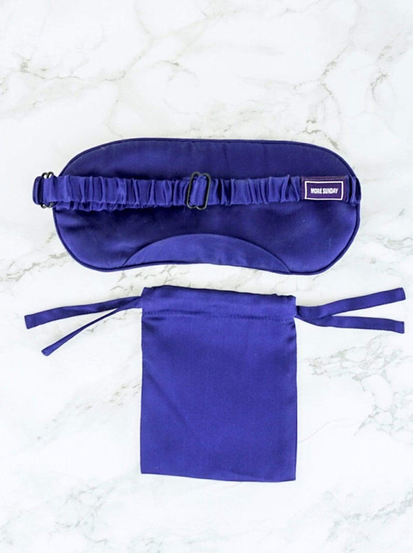 100% Mulberry Silk Sleep Eye Pillow Adjustable Strap | MORE SUNDAY Women's Sleep More Silk Eye Pillow · Royal Blueberry lunya morgan lane