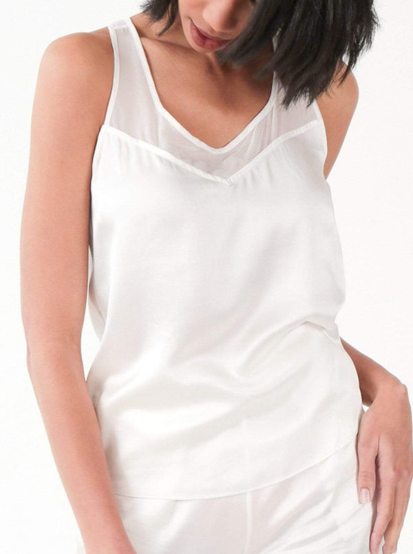 Washable 100% Mulberry Silk Pajama Set Racerback Tank | MORE SUNDAY Women's M Nolita Reversible Racerback Top · Light Champagne lunya morgan lane