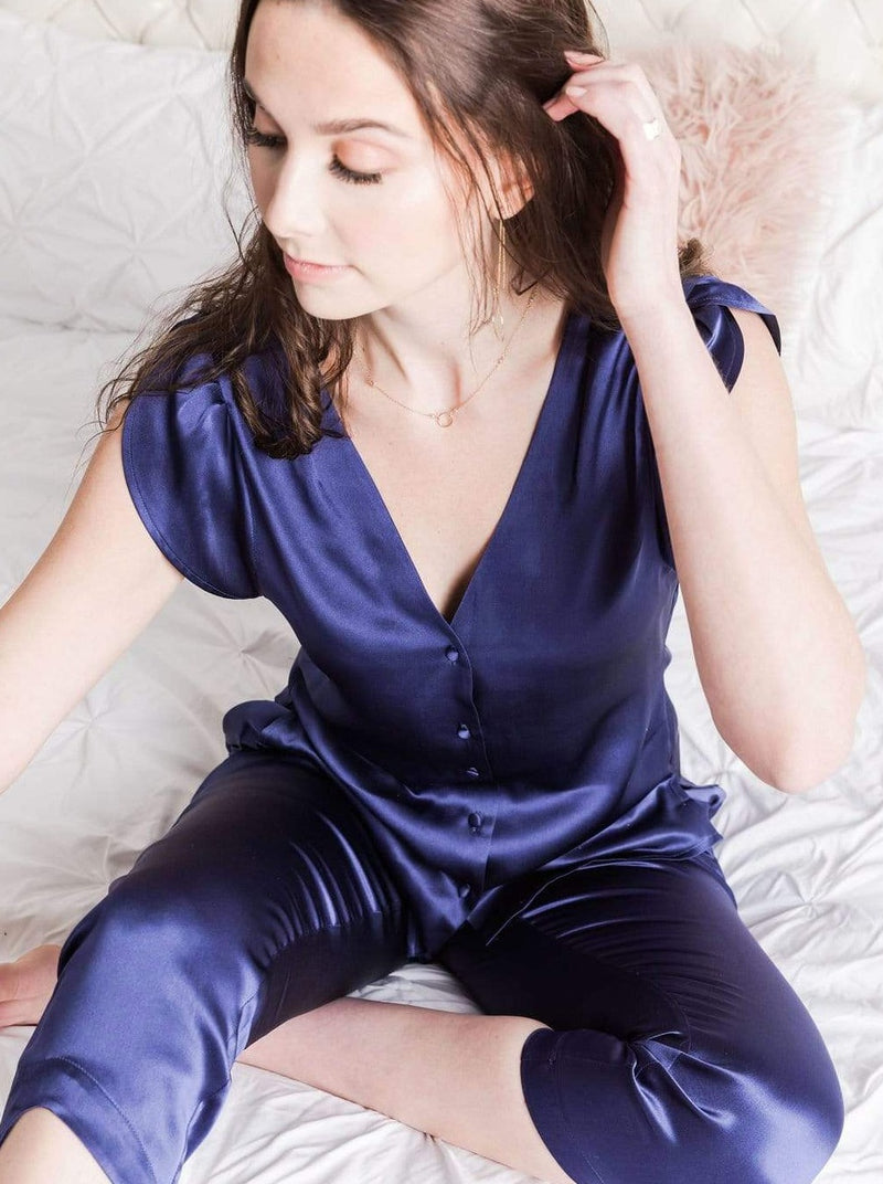 Washable 100% Mulberry Silk Pajama Set Button Up Blouse | MORE SUNDAY Women's M Chelsea Silk Button Up Top · Royal Blueberry lunya morgan lane