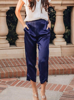 Washable 100% Mulberry Silk Pajama Set Cropped Pants | MORE SUNDAY Women's Midtown Cropped Pants · Royal Blueberry