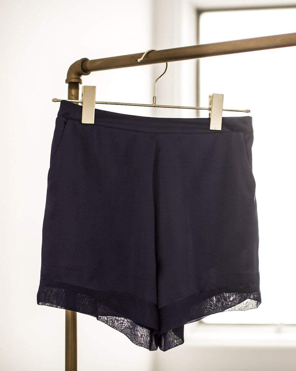 Washable 100% Mulberry Silk Pajama Set Shorts | MORE SUNDAY Women's M Soho Shorts · Black Caviar lunya morgan lane