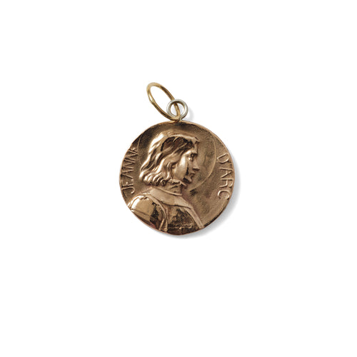 EXTRA LARGE JOAN OF ARC PENDANT- GOLD TONE