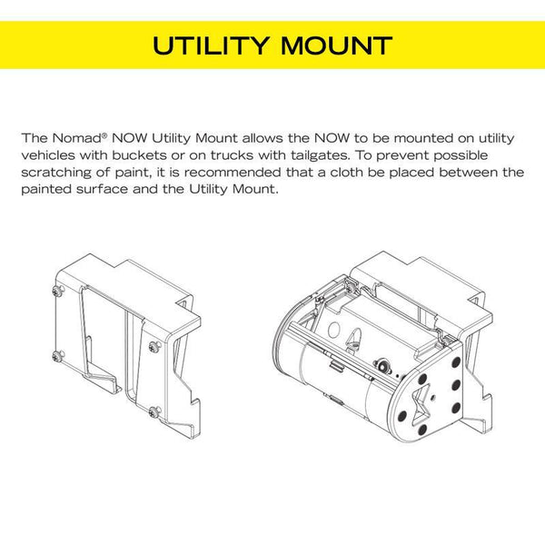 FoxFury Nomad® NOW Utility Mount - Connects to Nomad NOW to bucket trucks, tailgates, lift gates, or hang over doors. Illustration shown