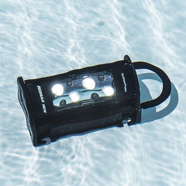 FoxFury Nomad® NOW Scene Light: Single Activation - Up to 2,500 lumens and 3-24 hour run time. This light is cordless, rechargeable, waterproof and impact resistant. Shown underwater and still working