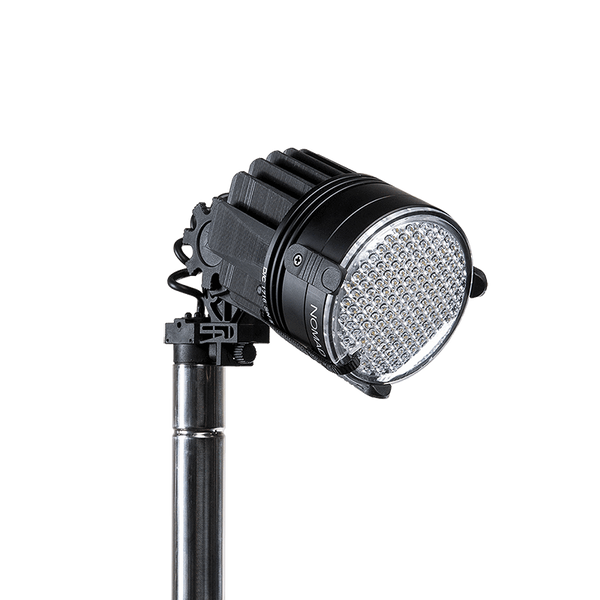 FoxFury Nomad® P56 Production Light - cordless, high quality, durable lighting tool has 95 CRI 5600K daylight balanced lighting. Shown with diffuser lens