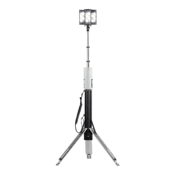 FoxFury Nomad® T56 Production Light - Cordless, battery powered production light extends up to 8.5ft (2.6m) tall to deliver up to 8,200 lumens of 95 CRI 5600K daylight balanced lighting. Shown extended