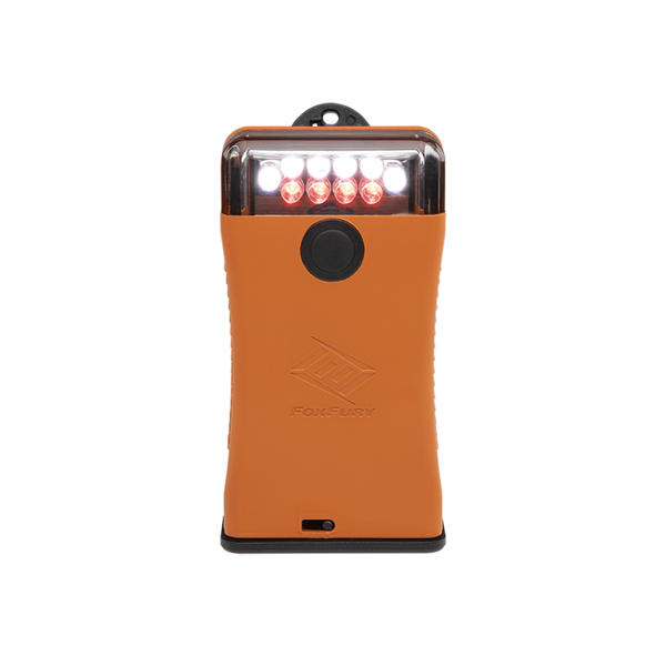 FoxFury Scout Clip Light with White and Red LEDs available in Orange