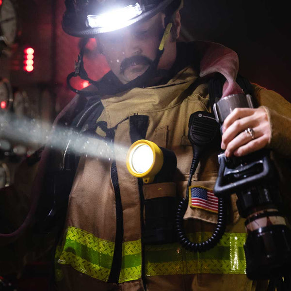 FoxFury Breakthrough® BTS Right Angle Light shown on firefighter