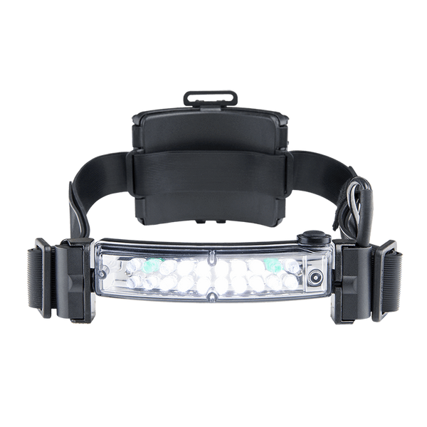 FoxFury Command+ LoPro White & Green LED Helmet Light - Panoramic light bar is 100 lumens and has True to Life™ LED technology. Ultra slim design is waterproof and impact resistant