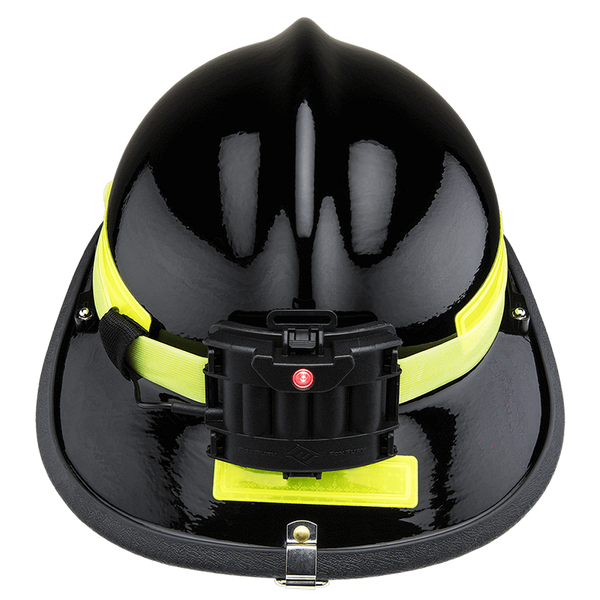 FoxFury Command+ Tilt White & Green LED Headlamp / Helmet Light - Panoramic light bar is 100 lumens, impact and fire resistant. Shown on the back of a modern fire helmet.