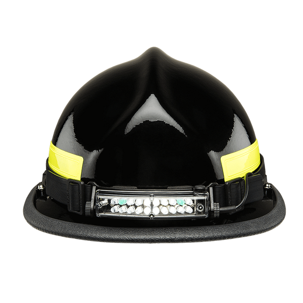 FoxFury Command+ Tilt White & Green LED Headlamp / Helmet Light - Panoramic light bar is 100 lumens, impact and fire resistant. Shown on the front of a modern fire helmet.