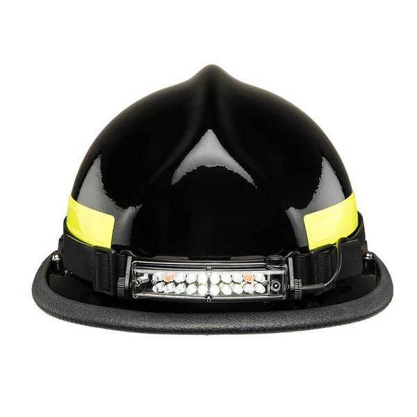 FoxFury Command+ Tilt White & Amber LED Headlamp / Helmet Light - Panoramic light bar is 100 lumens. Impact and fire resistant. Shown on a fire helmet.