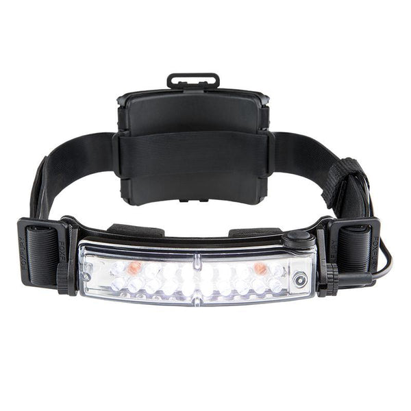FoxFury Command+ Tilt White & Amber LED Headlamp / Helmet Light - Panoramic light bar is 100 lumens. Impact and fire resistant