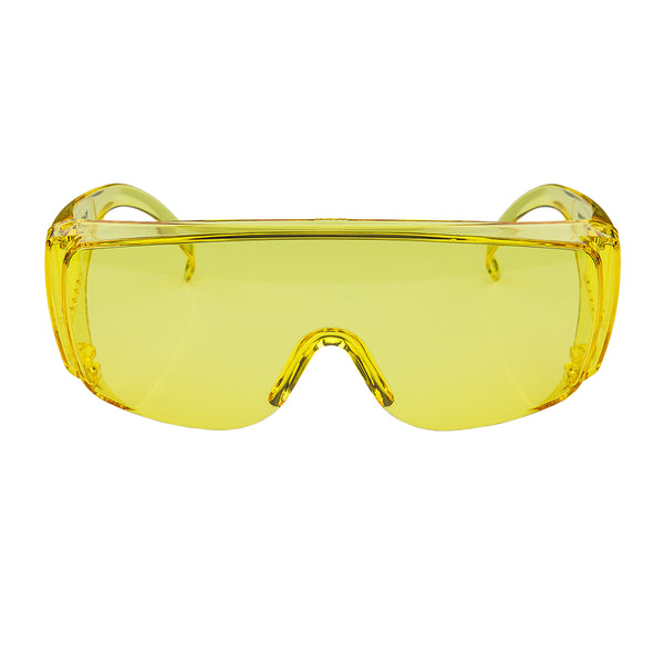 Goggles: Yellow - sold by FoxFury. Polycarbonate goggles have anti-fog air circulation slots and provide 100% UV protection