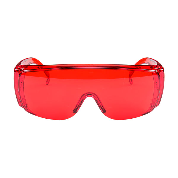 Goggles: Red - sold by FoxFury. Polycarbonate goggles have anti-fog air circulation slots and provide 100% UV protection