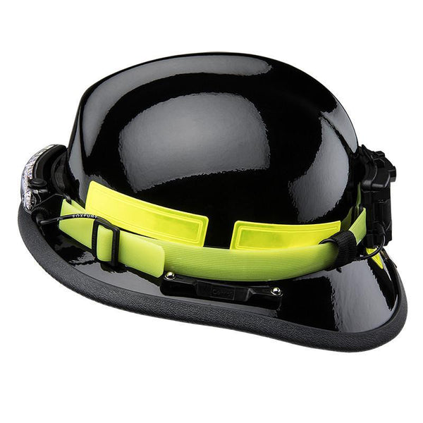 FoxFury Silicone Glow Strap - Phosphorescent silicone strap for safety helmets and fire helmets provides visibility by glowing in the dark. Shown with FoxFury Command Helmet light