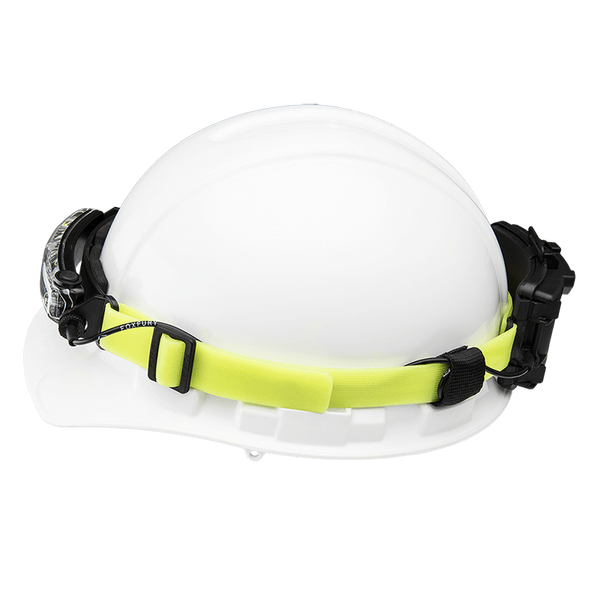 FoxFury Silicone Glow Strap - Phosphorescent silicone strap for safety helmets and fire helmets provides visibility by glowing in the dark. Shown on a safety helmet with the FoxFury Command Headlamp