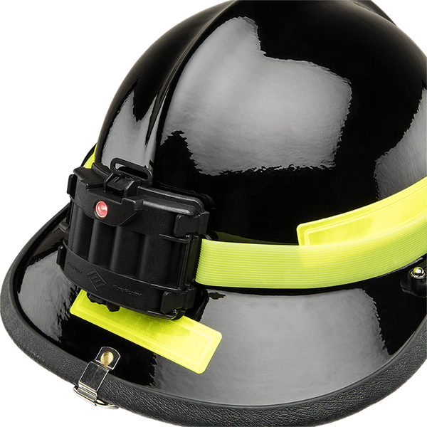 FoxFury Silicone Glow Strap - Phosphorescent silicone strap for safety helmets and fire helmets provides visibility by glowing in the dark. Shown on the back of a fire helmet