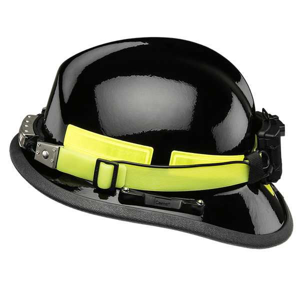FoxFury Silicone Glow Strap - Phosphorescent silicone strap for safety helmets and fire helmets provides visibility by glowing in the dark. Shown with the FoxFury Discover helmet light