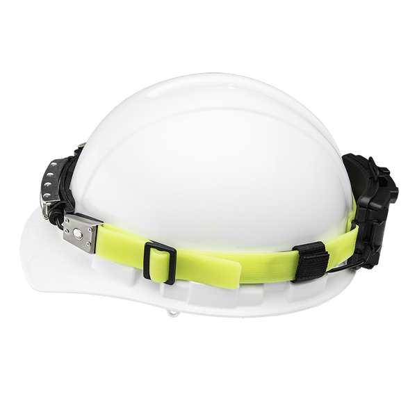 FoxFury Silicone Glow Strap - Phosphorescent silicone strap for safety helmets and fire helmets provides visibility by glowing in the dark. Shown with a FoxFury Discover Headlamp