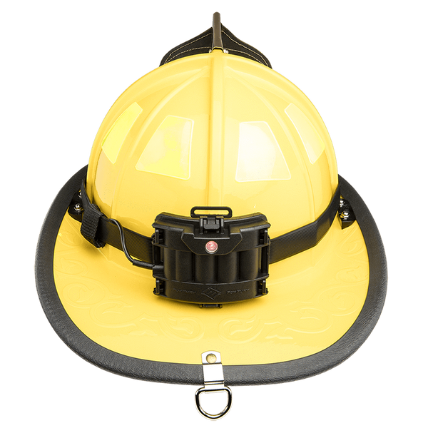 FoxFury Silicone Strap for safety hats and fire helmets LED battery pack shown on the back of a helmet