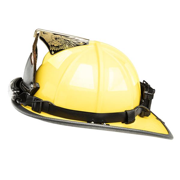 FoxFury Silicone Strap for safety hats and fire helmets shown side view on a fire helmet