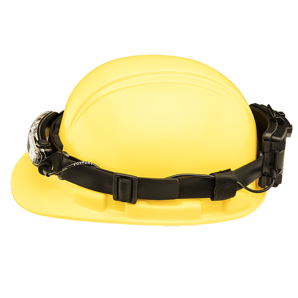 FoxFury Silicone Strap for safety hats and fire helmets shown side view on a hardhat