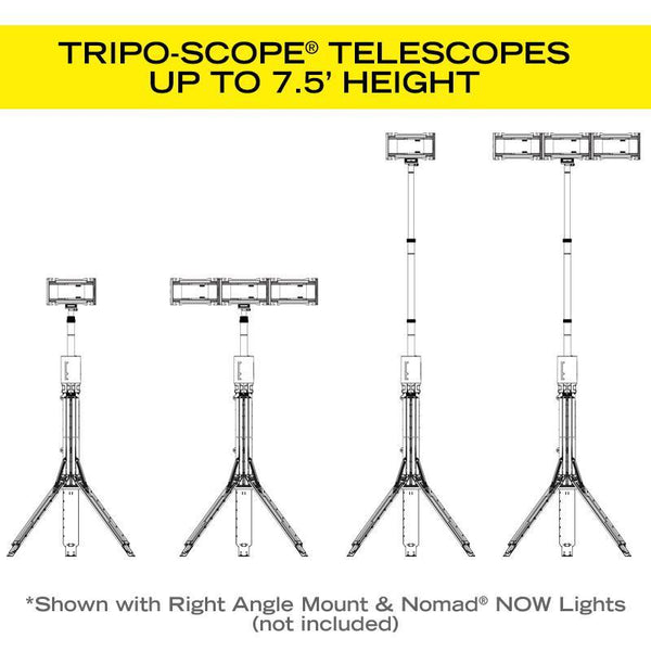 Tripo-Scope® M1 by FoxFury - durable tripod is weather proof and telescopes up to 7.5 feet. Illustration showing Nomad® NOW configuration