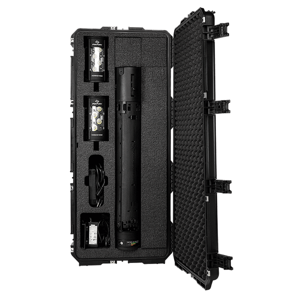 Multi Nomad® Case by FoxFury - Tough and durable case has foam plugs for optimizing inside product configuration. Folding side, top handles and wheels make for easy transport. Open view